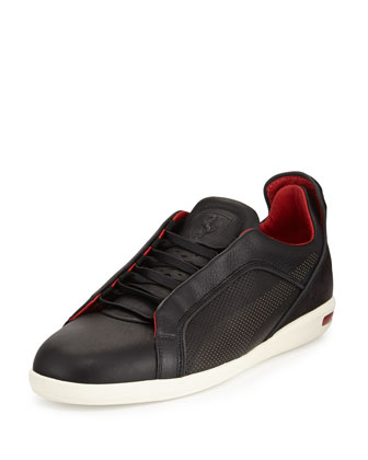 Ferrari Leather/Suede Low-Top Sneaker, Black