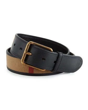 Mark Leather & Canvas Check Belt, Camel