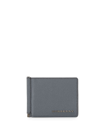 Pebbled Leather Money Clip Wallet, Gray