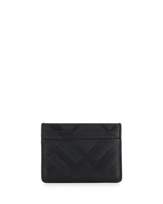 Sandon Embossed-Check Card Case, Black