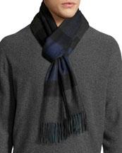 Men's Half Mega Check Cashmere Scarf, Charcoal/Dark Indigo