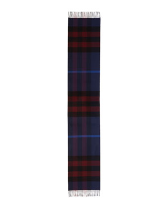 Men's Half Mega Check Cashmere Scarf, Bright Navy Blue