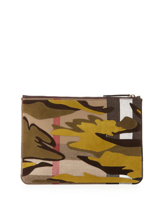 Camo-Print Leather Document Case, Dusty Citrine