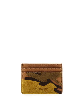 Camouflage Leather Card Case, Green