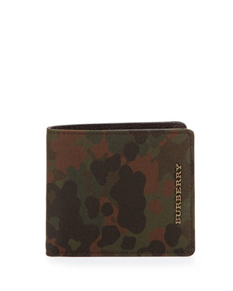 Camo-Print Bi-Fold Wallet, Green