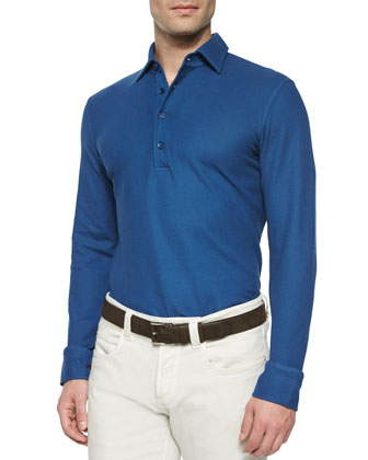Huck Lace Long-Sleeve Polo Shirt, Blue