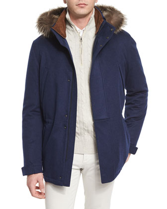 Icer Cashmere Storm Jacket with Fur-Trimmed Hood, Blue