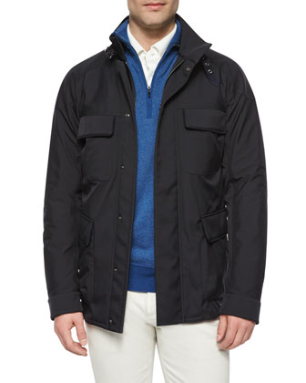 Full-Zip Storm System Jacket, Roadster Half-Zip Cashmere Sweater, Huck Lace ...