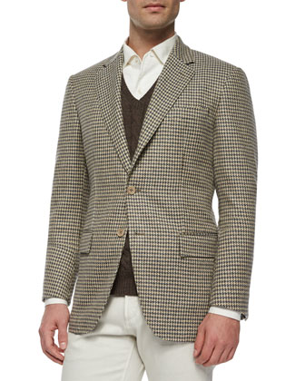 Madrid Check Cashmere Sport Coat, Baby Cashmere Cable-Knit Vest & ...