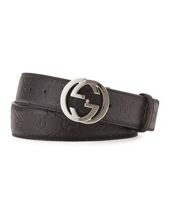 Interlocking G-Buckle Leather Belt, Black