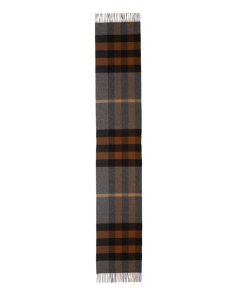 Men's Half Mega Check Cashmere Scarf, Brown/Gray
