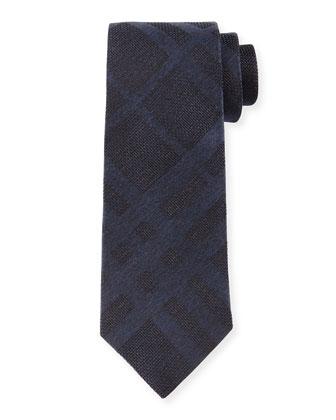 Tonal Check Silk Tie, Navy