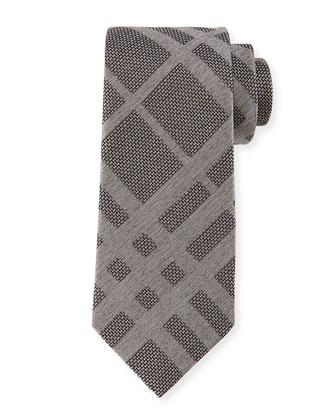 Tonal Check Silk Tie, Gray