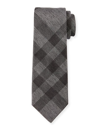 Exploded-Check Silk Tie, Charcoal