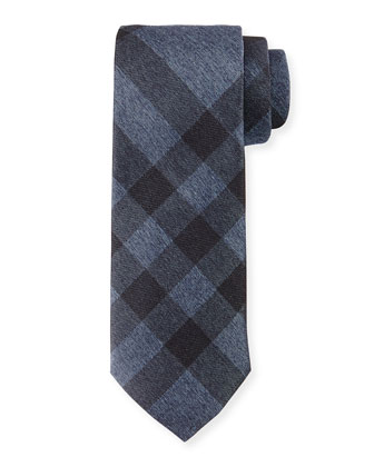 Exploded-Check Silk Tie, Slate Blue