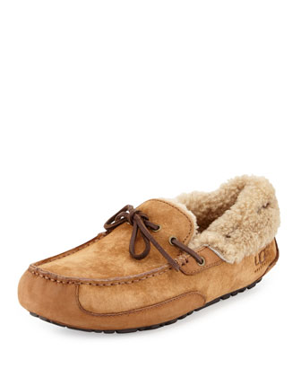 Fleming Suede Tie Slipper, Chestnut