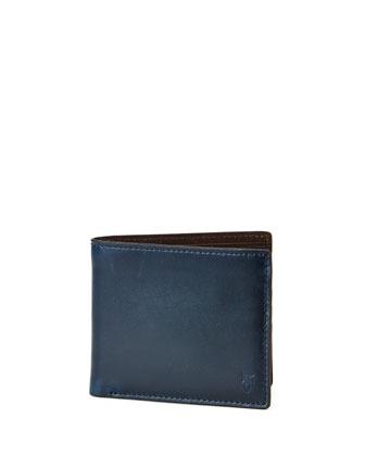 David Leather Bi-Fold Wallet, Navy