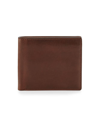 David Double Bi-Fold Wallet, Dark Brown