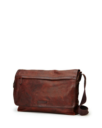 Tyler Leather Messenger Bag, Dark Brown
