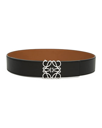 Reversible Silver Anagram-Buckle Belt, Black/Tan