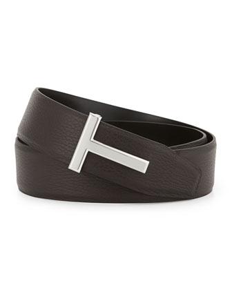 Reversible Leather Logo Belt