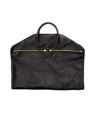 Buckley Soft Leather Garment Bag, Black