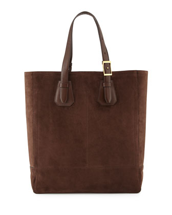 Men's Suede Tote Bag, Chocolate
