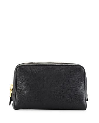 Single-Zip Leather Toiletry Bag, Black