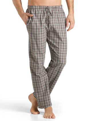 Emilien Plaid Flannel Lounge Pants, Brown/Red