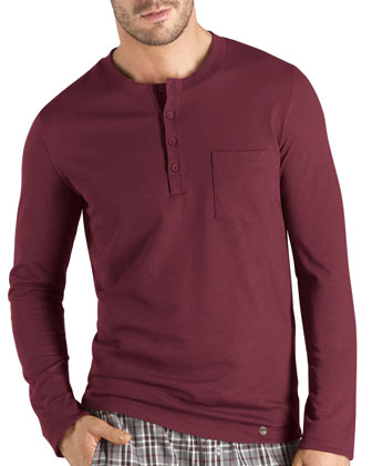 Emilien Long-Sleeve Henley Lounge Tee, Burgundy