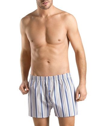 Fancy Striped Cotton Boxers, Blue