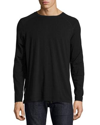 Long-Sleeve Cotton-Blend T-Shirt, Black
