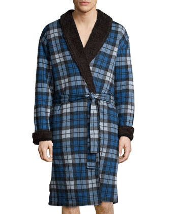 Manning Plaid Robe with Faux-Fur Lining, Blue