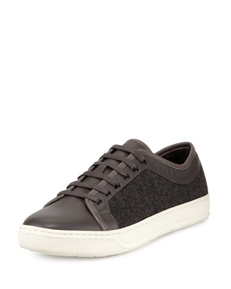 Leather & Felt Low-Top Sneaker