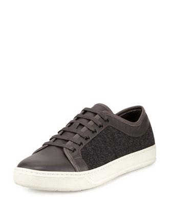 Leather & Felt Low-Top Sneaker