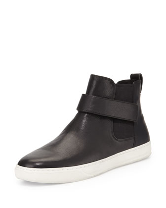 Leather High-Top Skate Sneaker, Black