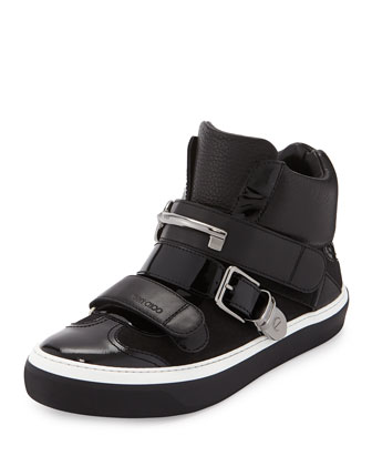 Barclay Men's Leather High-Top Trainer, Black