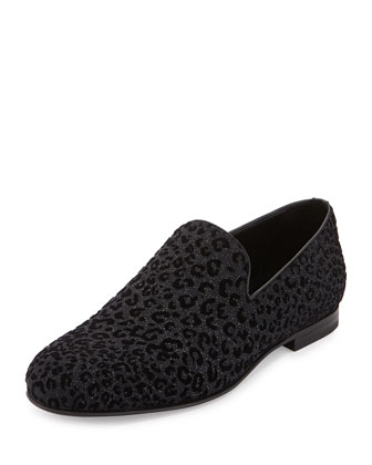 Sloane Men's Leopard-Print Loafer, Black