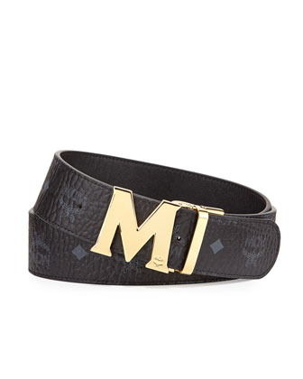 Reversible Visetos Leather Belt, Black