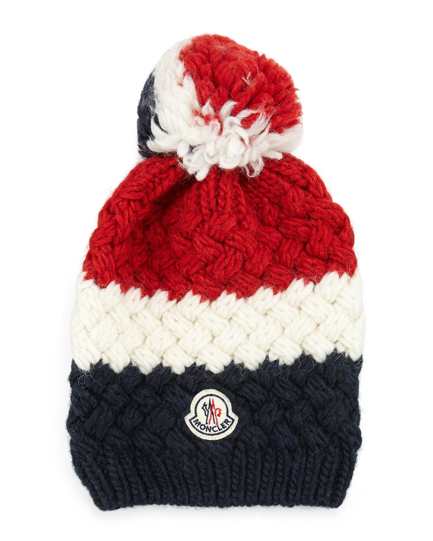 Cashmere Chunky-Knit Pom-Pom Hat, NAVY - Moncler