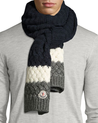 Cashmere Mixed-Knit Scarf, Navy/Red/White