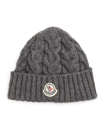 Cashmere Cable-Knit Hat, Gray