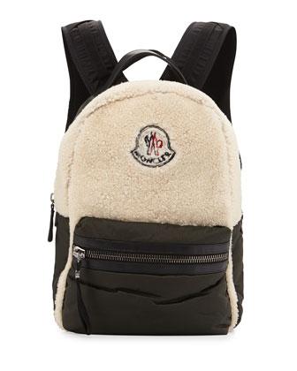 George Fleece Leather Backpack, Navy