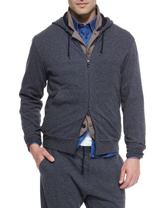 Zip-Front Knit Hoodie, Gray