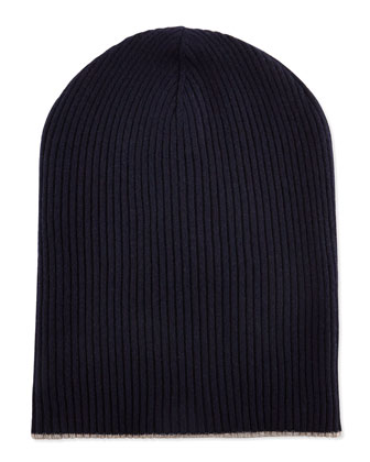 Cashmere Ribbed Hat w/Foldover Brim, Navy/Oatmeal