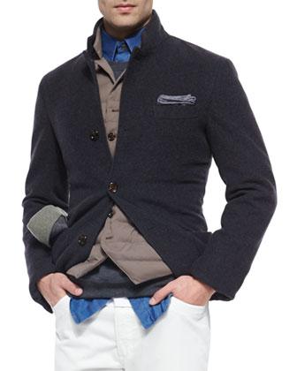Cashmere Three-Button Knit Jacket, Down-Filled Button Vest & Solid-Pique ...