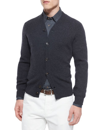 Ribbed Cashmere Cardigan, Dark Gray