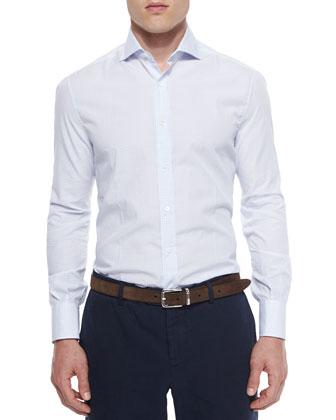 Tonal Graph-Check Long-Sleeve Shirt, Blue