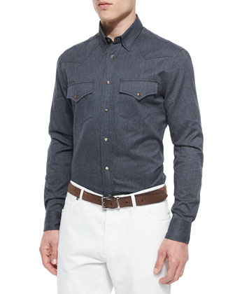 Flannel Western Sport Shirt, Dark Gray