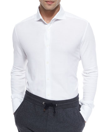 Solid-Pique Long-Sleeve Sport Shirt, White